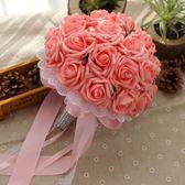 雙12購物節韓式新娘手捧花結婚仿真玫瑰花束婚禮花球婚慶創意婚紗拍照道具夏沫居家