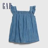 Gap嬰兒時尚水洗鬆緊方領牛仔裙580546-深色水洗做舊