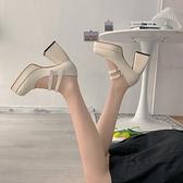 一字帶高跟單鞋女2021夏新款韓版百搭粗跟方頭法式復古瑪麗珍鞋潮 618狂歡
