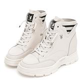 PLAYBOY 內增高 時尚真皮襪靴-白(Y7270)