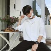 港風夏季新款寬鬆七分袖白襯衫男士潮流短袖襯衣韓版帥氣chic襯衫 快速出貨