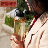 玻璃吸管杯 大容量成人帶吸管水杯1000ml便攜戶外隨手杯子大號旅行水瓶 卡菲婭