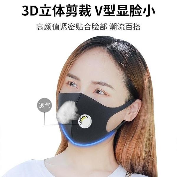【2只】防護口罩帶呼吸閥透氣防塵防霧霾防曬口罩黑色可水洗男女明星同款
