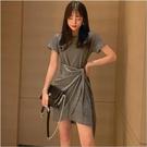 黑色連衣裙女新款夏季寬鬆休閒裙氣質女人味修身顯瘦t恤裙子 8號店
