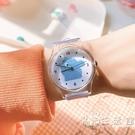 橡膠手錶女學生可愛日系軟妹子兒童卡通小錶盤透明ins風電子潮流 小時光生活館