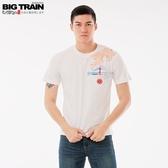 BigTrain雷神櫻花圓領短袖-男-牙白/黑色