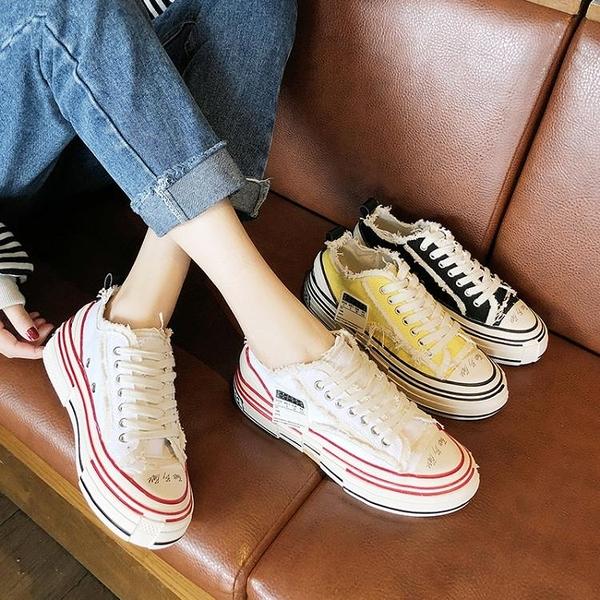 2020新款硫化鞋厚底增高乞丐鞋一腳蹬余文樂同款鞋吳建豪帆布鞋女