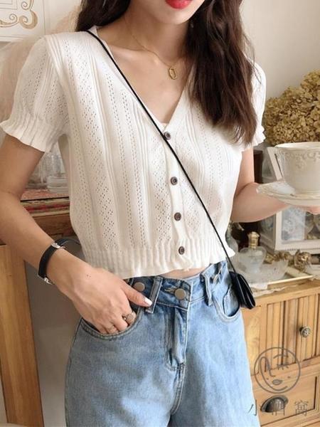 針織衫薄款短袖夏v領顯瘦大碼上衣女裝【小酒窩服飾】