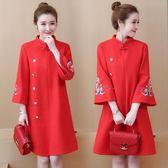改良旗袍洋裝 5XL長袖連身裙秋冬寬鬆顯瘦呢毛呢紅色鳳凰刺繡裝飾扣  新主流