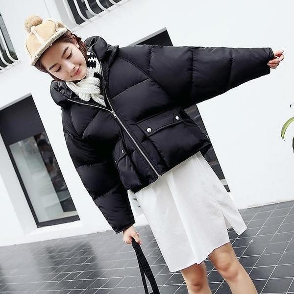 韓版外套 學院風  高品質 短板寬鬆  前短後長 加厚 保暖 連帽保暖風衣外套大衣【L155】