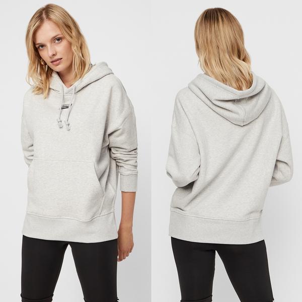 【GT】Adidas Originals 黑灰紅 連帽T恤 女款 寬鬆 落肩 純棉 運動 休閒 愛迪達 三葉草 EJ8565