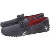 TOD'S Gommino Driving 麂皮拼接綁帶豆豆休閒鞋(男鞋/灰x藍) 1730209-23
