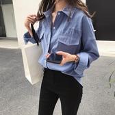 降價兩天 大碼女裝胖mm秋藍色襯衫女長袖 寬鬆上衣bf港風休閒遮肚顯瘦外套