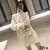 【YPRA】毛衣 中長款 露肩 麻花毛衣 寬鬆 套頭 高領 長袖 針織衫 上衣