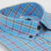 【金‧安德森】藍黃紅格紋黑釘扣短袖襯衫
