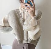 全館83折 春季女裝韓版CHIC風復古氣質寬鬆百搭短款大V領無袖針織背心馬甲