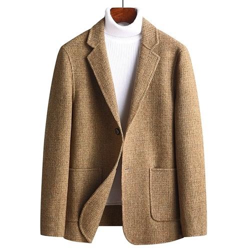 毛呢外套-抗皺修身休閒格紋羊毛男西裝5色73yu3【巴黎精品】