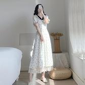 法式復古超仙氣質v領泡泡袖波點洋裝夏高腰桔梗仙女長裙子