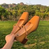 瑪麗珍鞋復古百搭瑪麗珍鞋小皮鞋女2020春新款方頭一字扣中粗跟英倫風單鞋 JUST M