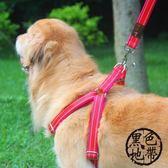 結實 狗鏈子狗牽引繩胸背帶遛狗繩子薩摩耶金毛中大型犬寵物用品【黑色地帶】