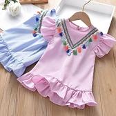 女童上衣  女童夏款民族風流蘇裙衫上衣