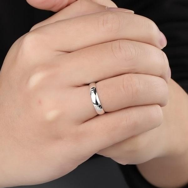 999純銀戒指男女士六字真言個性指環飾品潮食指尾戒小指開口戒指  卡布奇諾