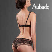 Aubade-夜色L-XL刺繡蕾絲平口褲(黑.紅)ND