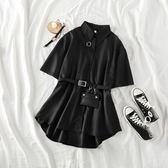 黑色襯衫裙韓版ins暗黑繫襯衫女 全館免運