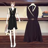 洋裝大碼連身裙顯瘦女神范不規則荷葉邊拼色連身裙 R025-C 7073胖妹大碼女裝