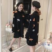 孕婦洋裝 秋冬裝2020新款韓版寬鬆秋冬款上衣潮媽中長款連身裙 2色S-XXL