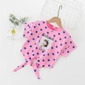 女童短袖t恤 純棉洋氣中大童夏裝童裝兒童上衣潮女寶寶圓點半袖夏 小城驛站