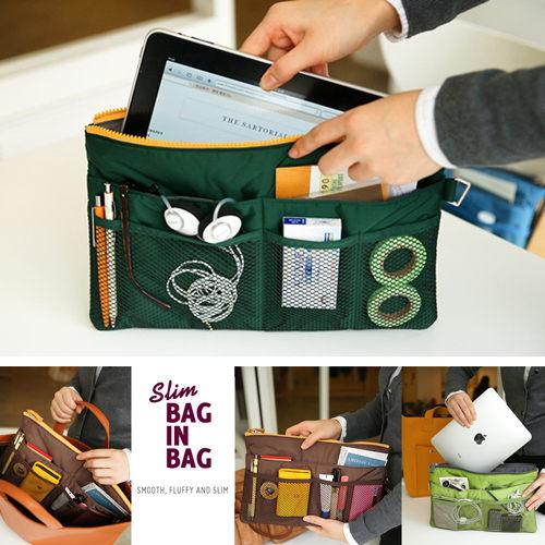 【韓國創意品牌 invite.L】袋中袋 拉鍊式設計 包包收納幫手 手機/平板電腦/錢包/記事本收納