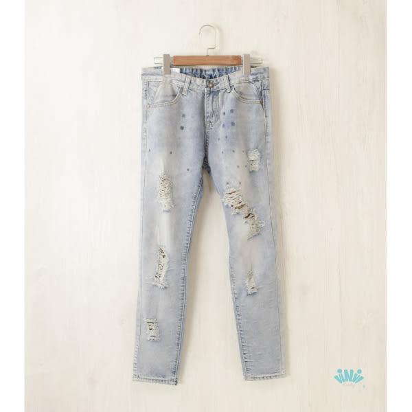 viNvi Lady 水洗破壞感格紋牛仔長褲 牛仔小腳褲