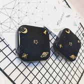 簡約個性星空隱形近視眼鏡盒美瞳雙聯伴侶盒女式輕巧便攜