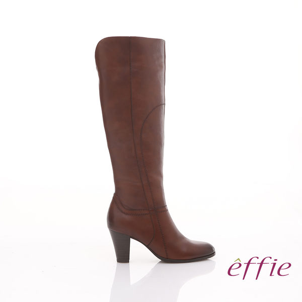 effie 都會風情 全真皮簡約線條及膝高跟長靴 茶色