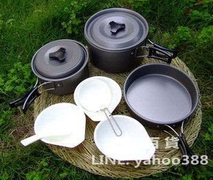 戶外露營炊具 三人平底套鍋 不鏽鋼不粘