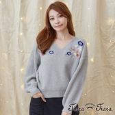 【Tiara Tiara】激安 繡花粗針織V領長袖上衣(白/深藍/灰)