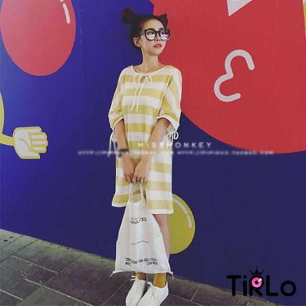 T袖 -Tirlo-休閒感粗彩條紋落肩寬版T-三色