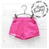 率性桃紅純色口袋平織短褲 平織褲 女童 簡約 時尚 韓版 休閒 百搭 短褲 熱褲 平織 口袋
