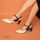 PUFII-鞋子 尖頭繞踝拼接金屬粗跟鞋-1007 現+預 秋【CP19256】