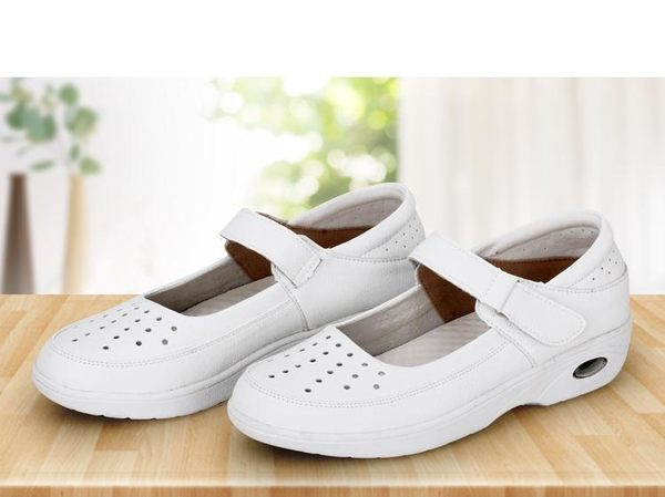 氣墊鞋護士鞋女春季韓版白色平底透氣醫院舒適防滑軟底坡跟氣墊 芊墨左岸