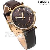 FOSSIL Jacqueline 公司貨 鑲鑽 羅馬佳人時尚女錶 金電鍍x咖啡色 防水錶 鑽錶 ES4973