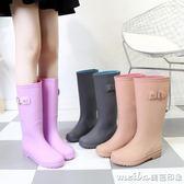 冬秋雨鞋女高筒潮防滑成人時尚水靴長筒馬靴中筒水鞋洗車雨靴 美芭