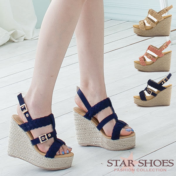 STAR SHOES-魅麗編織造型搭扣羅馬楔型涼鞋