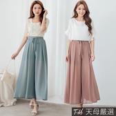【天母嚴選】蝴蝶結綁帶鬆緊腰雪紡寬褲裙(共二色)