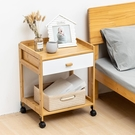 床頭櫃 床頭柜簡易臥室可移動床邊柜簡約現代白色家用雙層收納儲物柜竹制