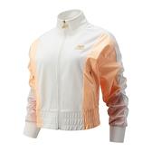 New Balance 女裝 外套 休閒 立領 寬版 拉鍊口袋 拼接 白 橘【運動世界】WJ13501SST