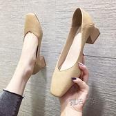 新款單鞋女春款復古奶奶鞋粗跟方頭低跟軟皮透氣晚晚風溫柔鞋 夏季狂歡