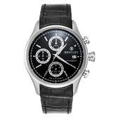 【BENTLEY】賓利 Bourbon系列 計時手錶(黑面/黑色錶帶 BL1684-20011)