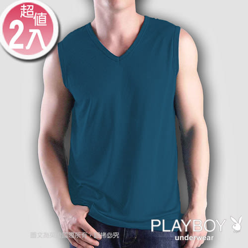 PLAYBOY 輕肌感琱絲排汗V領短袖衫(2件組)-SPN927